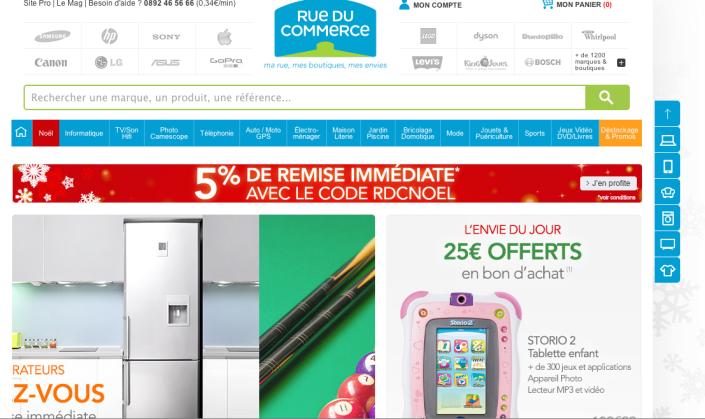Autour du logo, en haut, l'accès direct aux boutiques de marques en ligne